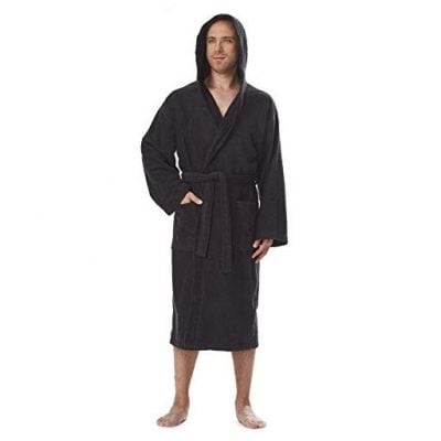 Arus Men's Classic Hooded Bathrobe Turkish Cotton Terry Cloth Robe (L/XL