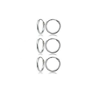 Sterling Silver Small Endless 10mm Round Unisex Hoop Earrings