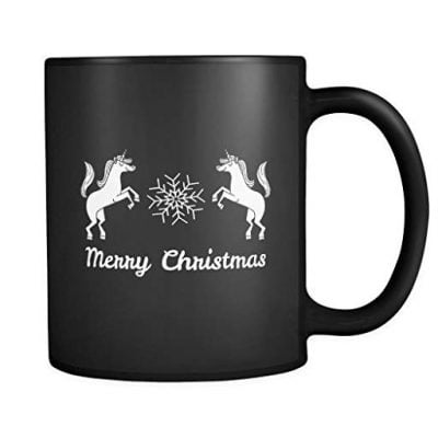 Merry Christmas Unicorns Mug in Black - Christmas Mug - Fun Gifts For Him