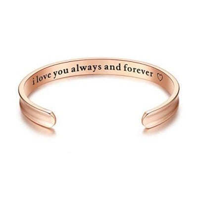 I love you always and forever Grooved Cuff Bangle Bracelets - Fun Gifts For Him