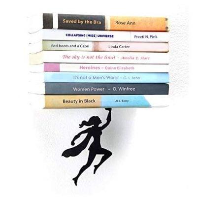 "ARTORI Design | ""Wondershelf Black Metal Female Superwoman Floating Bookshelf - Fun Gifts For Him"