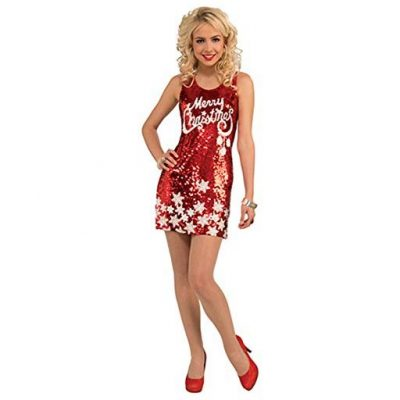 Forum Novelties Women's Racy Sequin Merry Christmas Costume Dress - Fun Gifts For Him