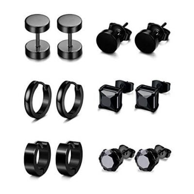 Jstyle 6 Pairs Stainless Steel CZ Stud Earrings for Men - Fun Gifts For Him
