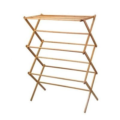 Bamboo Wooden clothes rack - heavy duty cloth drying stand - Fun Gifts For Him