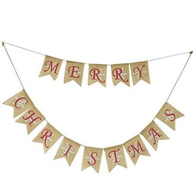 Partyprops Natural Jute Burlap Merry Christmas Garlands Banner - Fun Gifts For Him