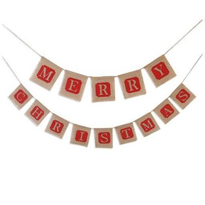 Pixnor MERRY CHRISTMAS Burlap Bunting Banner Flags for Christmas Party - Fun Gifts For Him