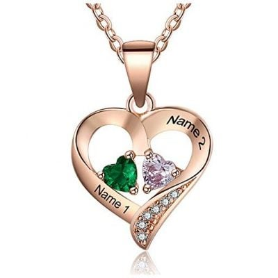 Love Jewelry Personalized 2 Names Necklace with 2 Heart - Fun Gifts For Him