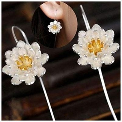 Meolin 925 Sterling Silver Romantic Flower Blossom Earrings - Fun Gifts For Him