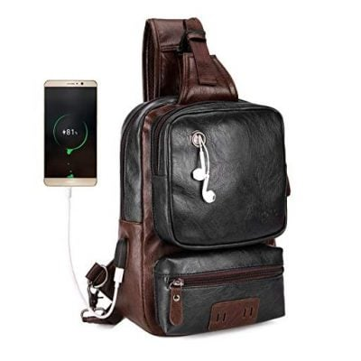 VICUNA POLO Men Sling Backpack External USB Charge - Fun Gifts For Him