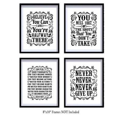 Motivational Inspirational Quotes Art Prints 4 Pack - Fun Gifts For Him