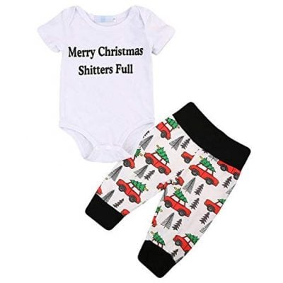 "Newborn Baby Boy Girl 2Pcs Clothes Set ""Merry Christmas Shitters Full"" - Fun Gifts For Him"