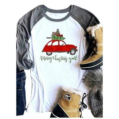 MNLYBABY Merry Christmas Car Print Baseball T Shirts - Fun Gifts For Him