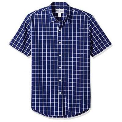 Amazon Essentials Men's Slim-Fit Short-Sleeve Plaid Shirt - Fun Gifts For Him