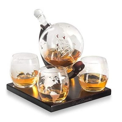 Royal Decanters Etched Globe Whiskey Decanter Gift Set - Fun Gifts For Him