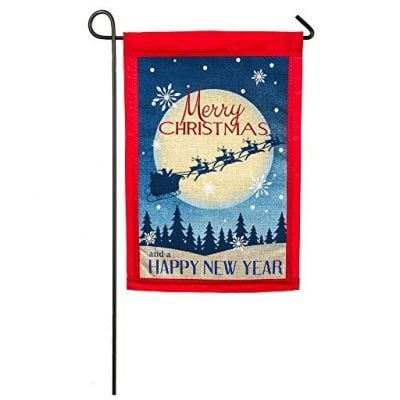 Evergreen Embroidered Vintage Merry Christmas Burlap Garden Flag - Fun Gifts For Him