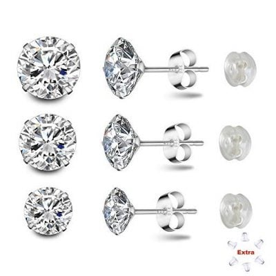 Sterling Silver Studs Earrings Round Cut Cubic - Fun Gifts For Him