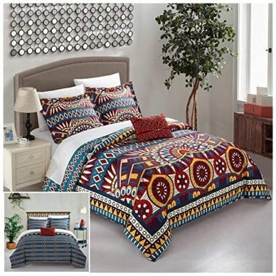 Large Scale global tribal african inspired printed Queen Duvet Set Red - Fun Gifts For Him