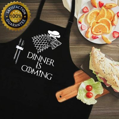 Dinner is Coming kitchen Apron - Fun Gifts For Him
