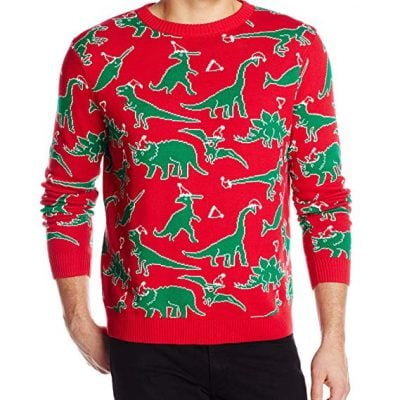 Dinosaur Chaos Ugly Christmas Sweater - Fun Gifts For Him